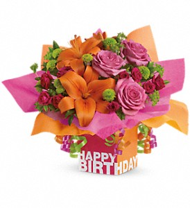 Teleflora's Rosy Birthday Present in flower shops MD, Flowers on Base