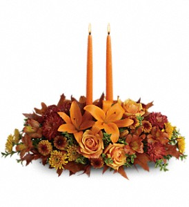 Family Gathering Centerpiece in Wichita Falls TX, Autumn Leaves