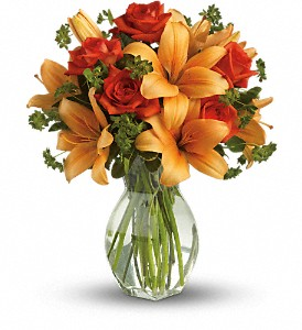 Fiery Lily and Rose in San Diego CA, <i><b>Edelweiss Flower Salon  858-560-1370</i></b>