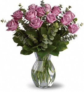 Lavender Wishes - Dozen Premium Lavender Roses in Bement IL, Petals and Porch Posts