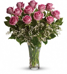 Make Me Blush - Dozen Long Stemmed Pink Roses in Santa Claus IN, Evergreen Flowers & Decor