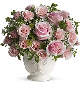Teleflora's Parisian Pinks with Roses in Oakland MD, Green Acres Flower Basket
