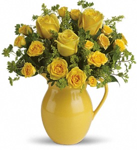 Teleflora's Sunny Day Pitcher of Roses in Woodland Hills CA, Abbey's Flower Garden