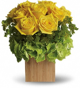 Teleflora's Box of Sunshine in Golden CO, Fleur-De-Lis Flowers