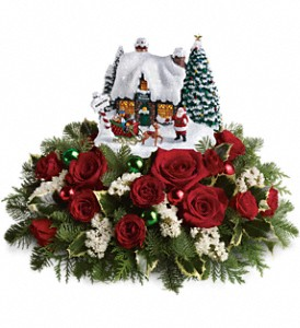 Thomas Kinkade Santa's Workshop by Teleflora in Oklahoma City OK, Array of Flowers & Gifts