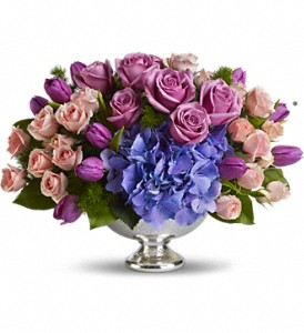 Teleflora's Purple Elegance Centerpiece in Lewiston ME, Val's Flower Boutique, Inc.