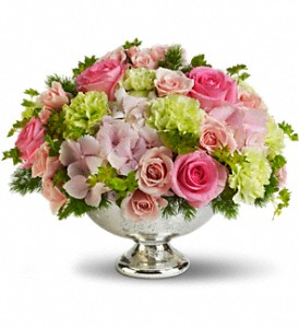 Teleflora's Garden Rhapsody Centerpiece in Gothenburg NE, Ribbons & Roses