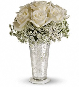 Teleflora's White Lace Centerpiece in Dawson Creek BC, Schrader's Flowers (1979) Ltd.