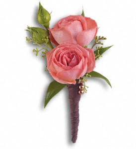 Rose Simplicity Boutonniere in White Rock BC, Ashberry & Logan