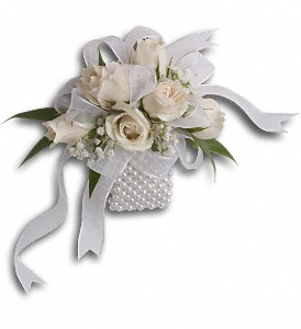 White Whisper Wristlet in Olean NY, Mandy's Flowers