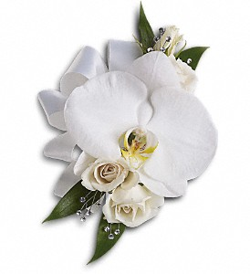 White Orchid and Rose Corsage in Islandia NY, Gina's Enchanted Flower Shoppe