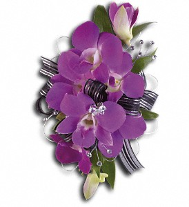 Purple Promise Wristlet in Yonkers NY, Beautiful Blooms Florist