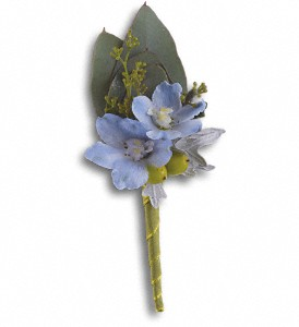 Hero's Blue Boutonniere in Islandia NY, Gina's Enchanted Flower Shoppe