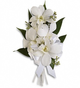 Graceful Orchids Corsage in Golden CO, Fleur-De-Lis Flowers