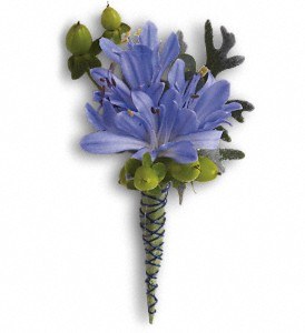 Bold and Blue Boutonniere in Islandia NY, Gina's Enchanted Flower Shoppe
