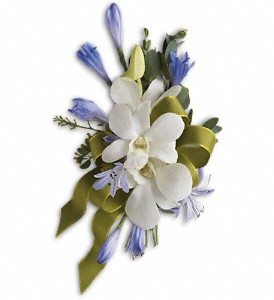 Blue and White Elegance Corsage in Calgary AB, Charlotte's Web Florist