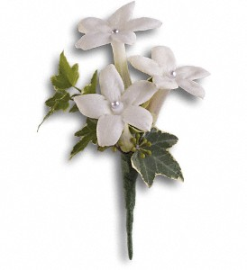 White Gloves Boutonniere in Saraland AL, Belle Bouquet Florist & Gifts, LLC