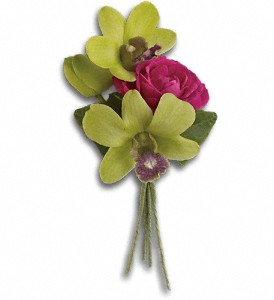 Orchid Celebration Boutonniere in West Los Angeles CA, Sharon Flower Design