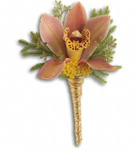 Sunset Orchid Boutonniere in Islandia NY, Gina's Enchanted Flower Shoppe
