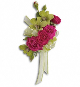Chic and Stunning Corsage in Billerica MA, Candlelight & Roses Flowers & Gift Shop