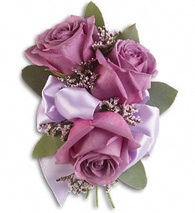 Soft Lavender Corsage in Reno NV, Bumblebee Blooms Flower Boutique