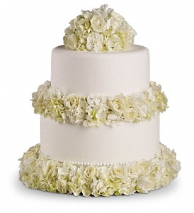 Sweet White Cake Decoration in Fremont CA, Kathy's Floral Design