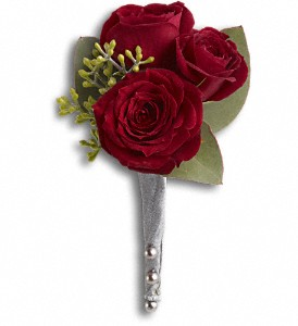 King's Red Rose Boutonniere in Islandia NY, Gina's Enchanted Flower Shoppe