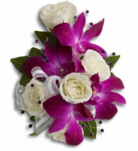 Fancy Orchids and Roses Wristlet in Chelmsford MA, Feeney Florist Of Chelmsford