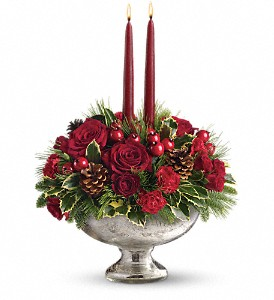 Teleflora's Mercury Glass Bowl Bouquet in Bakersfield CA, White Oaks Florist