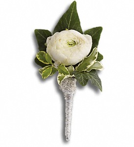 Blissful White Boutonniere in Stony Plain AB, 3 B's Flowers