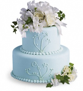 Sweet Pea and Roses Cake Decoration in Fremont CA, Kathy's Floral Design