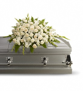 Silken Serenity Casket Spray in Houston TX, Village Greenery & Flowers