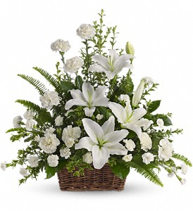 Peaceful White Lilies Basket in Salt Lake City UT, Midred's / Brown Floral