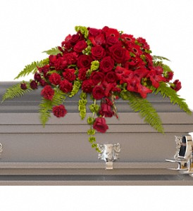 Red Rose Sanctuary Casket Spray in Bakersfield CA, White Oaks Florist