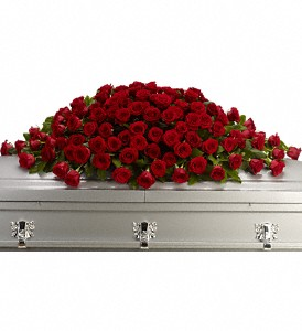 Greatest Love Casket Spray in Stettler AB, Panda Flowers