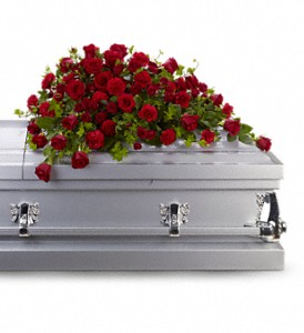 Red Rose Reverence Casket Spray in Palm Springs CA, Palm Springs Florist, Inc.