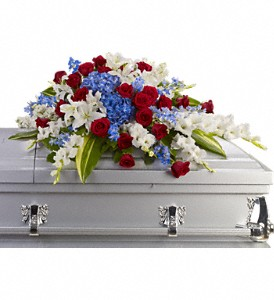 Distinguished Service Casket Spray in Merced CA, A Blooming Affair Floral & Gifts