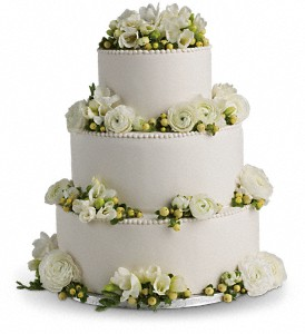 Freesia and Ranunculus Cake Decoration in DeKalb IL, Glidden Campus Florist & Greenhouse