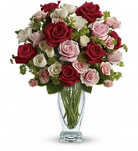 Cupid's Creation with Red Roses by Teleflora in Hendersonville NC, Forget-Me-Not Florist