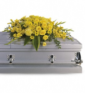 Graceful Grandeur Casket Spray in Mount Morris MI, June's Floral Company & Fruit Bouquets