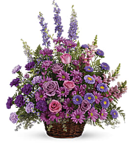 Gracious Lavender Basket in Redwood City CA, A Bed of Flowers