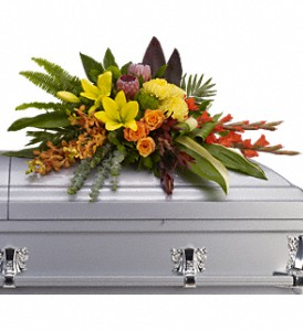 Island Memories Casket Spray in Merced CA, A Blooming Affair Floral & Gifts