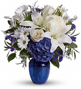 Beautiful in Blue in Newark CA, Angels 24 Hour Flowers<br>510.794.6391