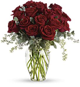 Forever Beloved - 30 Long Stemmed Red Roses in Boerne TX, An Empty Vase
