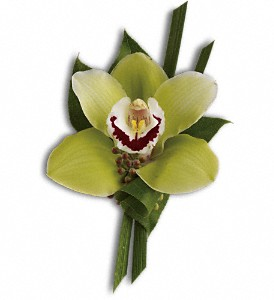 Green Orchid Boutonniere in Ontario CA, Rogers Flower Shop