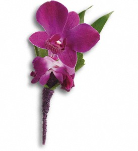 Perfect Purple Orchid Boutonniere in Ontario CA, Rogers Flower Shop