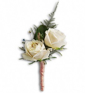 White Tie Boutonniere in Saraland AL, Belle Bouquet Florist & Gifts, LLC