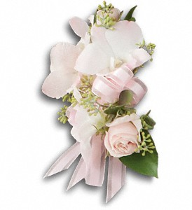 Beautiful Blush Corsage in Stillwater OK, The Little Shop Of Flowers