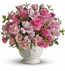 Teleflora's Pink Potpourri Bouquet with Roses in The Woodlands TX, Rainforest Flowers
