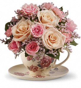 Teleflora's Victorian Teacup Bouquet in Brownsburg IN, Queen Anne's Lace Flowers & Gifts